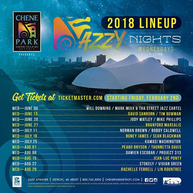 Chene Park Wednesday Jazzy Nights Concert Series Are On Sale Now
